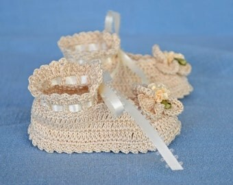 Ecru Baby Booties - READY TO SHIP - 16013-G