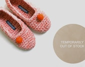 Crochet Slippers for Women in Salmon Pink Coral Orange Hand Felted Balls