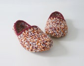 Low Rider house slippers - Crochet slippers in plum pumpkin cranberry