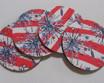 Fabric Coaster made with She's a Firecracker Lilly Pulitzer Fabric