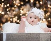 Infant Headband, Newborn Headbands, Baby Girl Flower Headband, Rosette Headband, Photo Prop / Snow White Rosette Baby Headband