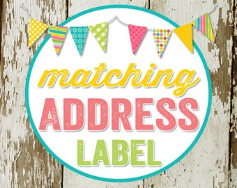 RETURN ADDRESS LABEL to match any design for baby shower invitations or party invitations, diy, digital printable