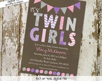 baby shower invitation twins purple gray baby sprinkle high tea baby girl shower birthday baptism bash (item 1518) shabby chic invitations