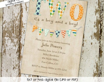 twin baby shower invitation baby boy shower gender reveal diaper couples birthday baptism sip and see bash (item157) shabby chic invitations