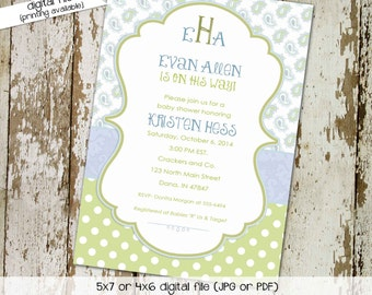 paisley baby shower invitations baby boy shower sprinkle birthday twins couples diaper sip and see coed (item 1272) shabby chic invitations