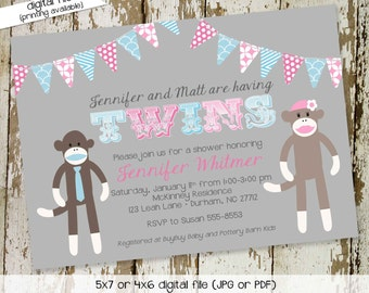 twin baby shower invitation sock monkey gender neutral gender reveal diaper couples pink blue party bash (item 1523) shabby chic invitations