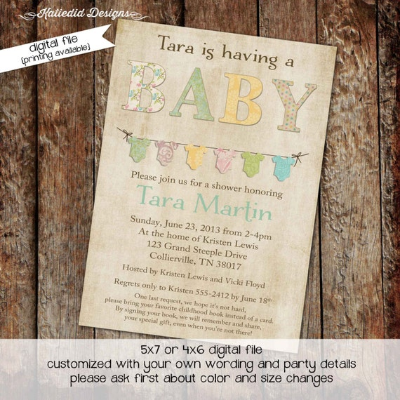 gender neutral baby shower invitations bunting bodysuit banner sprinkle diaper couples stock the library (item 140) shabby chic invitations