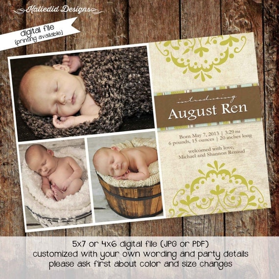 baby boy birth announcements photo lds mormon baptism christening sip and see baby blessing high tea bash (item 423) shabby chic invitations