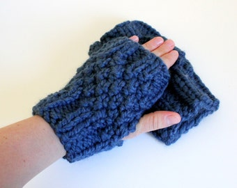 Denim Blue Fingerless Gloves - Chunky Mitts - Ready to Ship