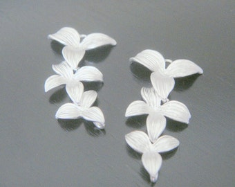 Wholesale Supplies Silver Orchid Flower Star Long Connector, Earring Findings, setting, connector, pendants 2 pc , U514095