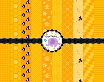 Honey Digital Papers, Bee Digital Scrapbook Paper, Honey Digital Background, Bumble Bee Digital Paper, Commercial Use
