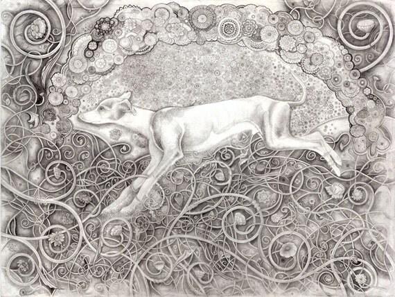 Imprimer louis dessin d 39 un chien parmi les vignes et - Dessin d un chien ...