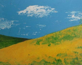 Canola Hills - original acrylic painting - abstract painting -  abstract landscape painting - palette knife - daily painting