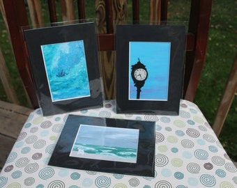Set of Three 3x5 Prints of Original Beach Themed Acrylic Paintings