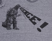 mens Godzilla Science t shirt- American Apparel athletic gray- available in S, M, L, XL, XXL- WorldWide Shipping