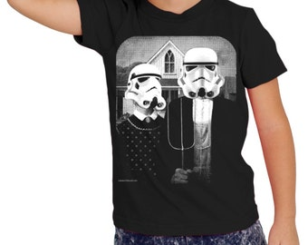 star wars storm trooper on boys kids childrens t shirt- american apparel black,  2, 4, 6, 8, 10,12 year old sizes -WorldWide Shipping