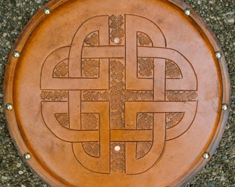 SHIELD - Celtic Knot - Hand Carved Leather