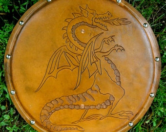 SHIELD - Dragon - Hand Carved Leather