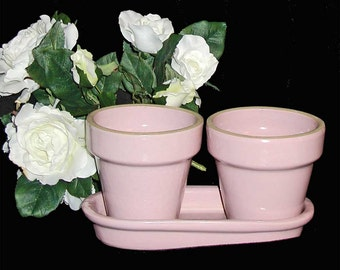 Great Herb Pots! by Vintage Western Stoneware/Monmouth Pottery Pink Flower Pots and Double Saucer
