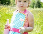 Girls Polka Dot Apron, Toddler Apron, Retro Robin Blue, Kids sizes 1-2, 2T-3T, 3-4, 4-6 and 8-10  years