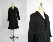 Vintage 1960s Dress / Black Dress / Ruffles / Dress with Pockets / Mad Men Dress / Long Sleeves