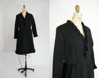 Vintage 1960s Dress / Black Dress / Ruffles / Dress with Pockets / Mad Men Dress / Long Sleeves