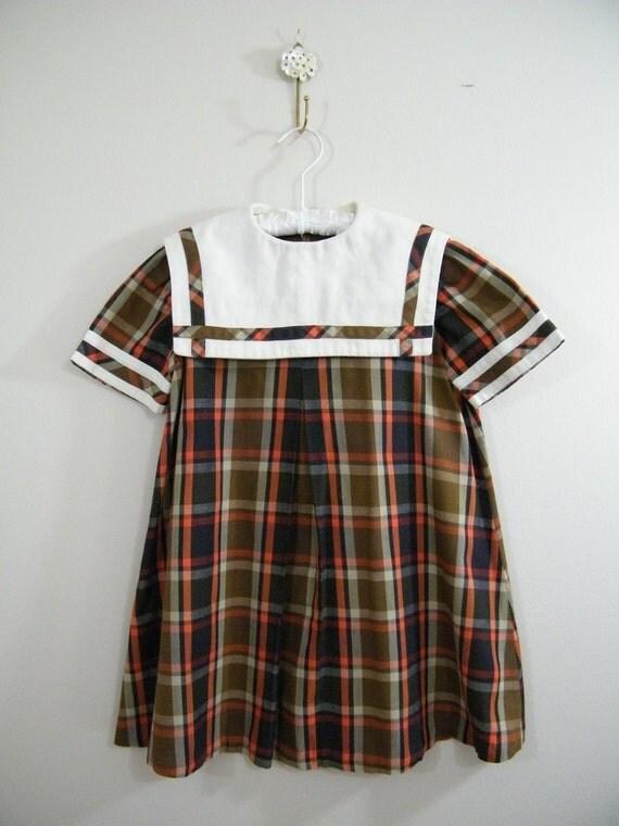 Vintage 1960s Girls Dress Brown Plaid Square Collar