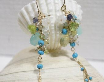 Gemstone Cluster Earrings 10 K Solid Gold Earrings Sleeping Beauty Turquoise Earrings