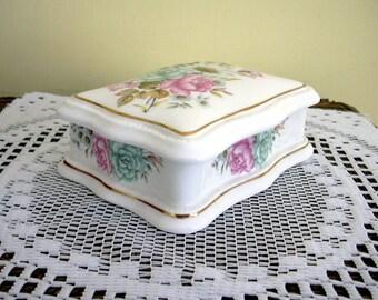 Vintage Bone China Rectangular Floral Porcelain Trinket Jewelry Box Shabby Chic Flowers Lidded Staffordshire  England
