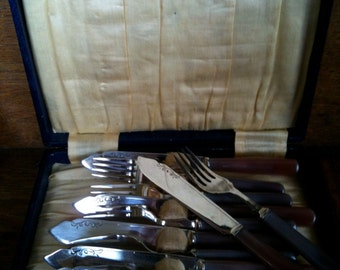 Vintage English Boxed Silver Plate Forks and Knifes Cutlery Silverware Flatware circa 1940's / English Shop