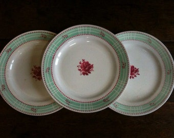 Vintage French Rose Dinner Lunch Plates circa 1940's / English Shop