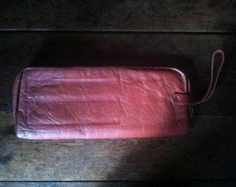 Vintage English Rose Pink Wristlet Clutch Bag Handbag Case circa 1970's / English Shop