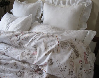 Pastel beige white red cinnamon post card letters stamp print book bedding Twin XL Duvet cover 2013 Trends by Nurdanceyiz Turkey