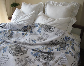 Blue floral Letters writing Bedding - Twin XL FULL or Queen King duvet cover - BOOK bedding -modern college dorm bedding Nurdanceyiz