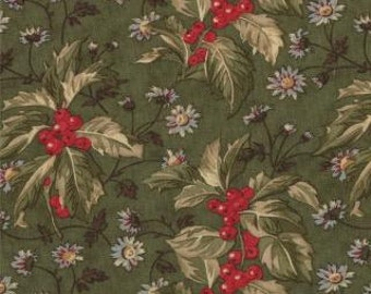 Wintergreen Holly Leaf Dark Green by 3 Sisters for Moda