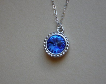 Sapphire necklace - Sapphire Swarovski Rivoli pendant - Sterling Silver chain - September birthday necklace -Free shipping to CANADA and USA