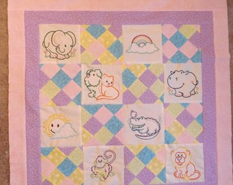 Embroidered baby wall quilt, with elepahant, dog, kitty, moneky, lion, hippo