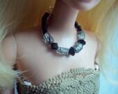 barbie necklace rutilated quartz and swarovski crystal