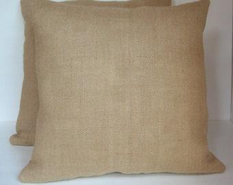 "Two (2) Burlap Pillow Covers, Lined and Made to Fit  18"" x 18"" Pillows"
