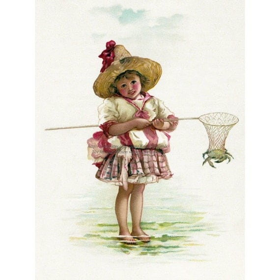 Girl Crabbing Card - Catches Crab in Net at the Beach - Lizzie Lawson Mack Repro