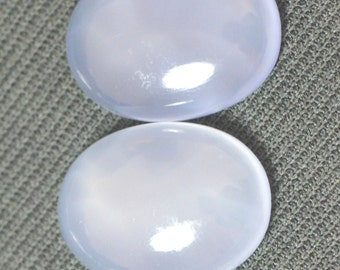 22mm pair blue chalcedony cabochon 35.13ct untreated  Ref: 377952