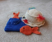 Newborn Baby Fisherman Hat and Diaper Cover Set, Photography Prop (You choose size)
