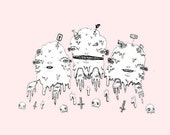 8 x 11 Fine Art Print - Three Piles of Creepy Cute Slime, Floating in a Baby Pink Space. by Danielle O'Malley