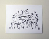 8 x 11 Fine Art Digital Print - Ink Drawing of Three Piles of Slime Barf and Garbage - by Danielle O'Malley