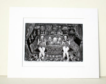 8 x 11 Fine Art Digital Print - Aquatint Etching - Voodoo Black Magic Witch by Danielle O'Malley
