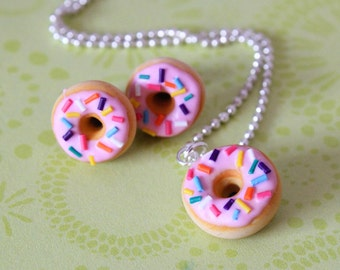 Doughnut Necklace and stud earrings hypoallergenic (Surgical Steel) Set - Miniature Food Jewelry