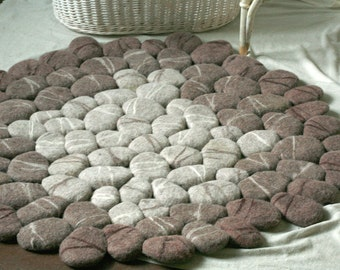 Hand Felted round rug with brown striped stones
