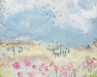 "Original Encaustic Painting - ""Summer Field""  Encaustic Art, Impressionist Painting, Pastel Painting by Angela Petsis"