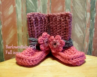 New - Buggs - Crochet Short Boots in Pink Raspberry, Mauve, and Grey w/ Flower Accent