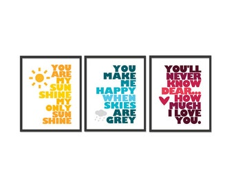You are my sunshine - Set of Three 8x10 wall art prints - Yellow, Blue, Red